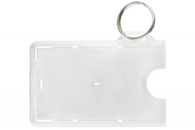 Frosted 1-Card Horizontal Card Holder w/ Slot and NPS Key Ring (50/Box)