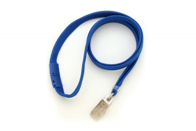 "Royal Blue 3/8"" Breakaway Lanyard w/ Bulldog Clip (100/Pkg)"