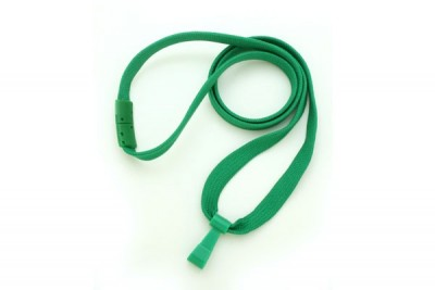 "Green 3/8"" Breakaway Lanyard w/ Wide Plastic Hook (100/Pkg)"