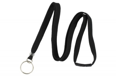 "Black 3/8"" Breakaway Lanyard w/ Split Ring (100/Pkg)"