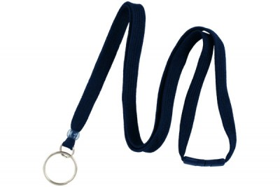 "Navy Blue 3/8"" Breakaway Lanyard w/ Split Ring (100/Pkg)"
