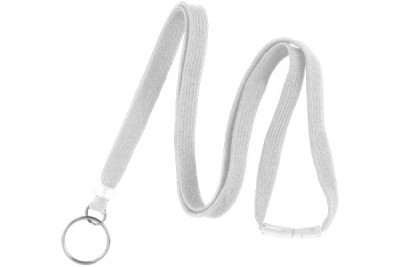 "White 3/8"" Breakaway Lanyard w/ Split Ring (100/Pkg)"