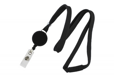 "Black 3/8"" Breakaway Lanyard w/ Badge Reel (100/Pkg)"