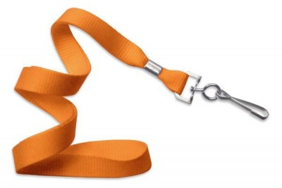 "Orange 5/8"" (16 mm) Lanyard w/ Nickel-Plated Steel Swivel Hook (100/Pkg)"