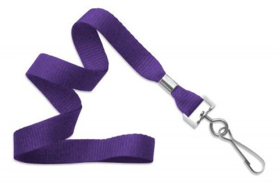 "Purple 5/8"" (16 mm) Lanyard w/ Nickel-Plated Steel Swivel Hook (100/Pkg)"