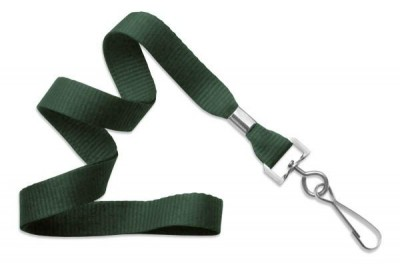 "Forest Green 5/8"" (16 mm) Lanyard w/ Nickel-Plated Steel Swivel Hook (100/Pkg)"