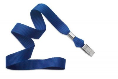 "Royal Blue 5/8"" (16 mm) Lanyard w/ Nickel-Plated Steel Bulldog Clip (100/Pkg)"