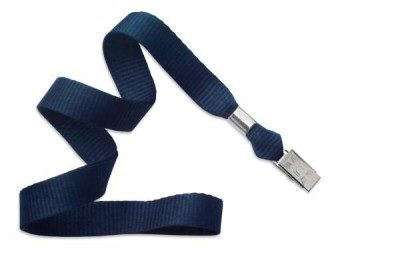 "Navy Blue 5/8"" (16 mm) Lanyard w/ Nickel-Plated Steel Bulldog Clip (100/Pkg)"