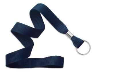 "Navy Blue 5/8"" (16 mm) Lanyard w/ Nickel-Plated Steel Split Ring (100/Pkg)"