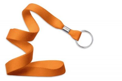 "Orange 5/8"" (16 mm) Lanyard w/ Nickel-Plated Steel Split Ring (100/Pkg)"