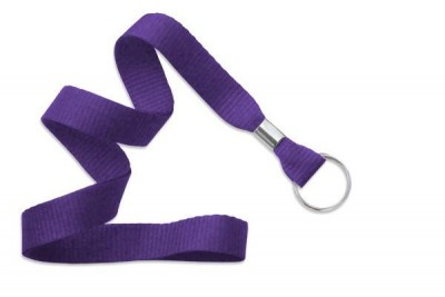 "Purple 5/8"" (16 mm) Lanyard w/ Nickel-Plated Steel Split Ring (100/Pkg)"