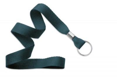 "Teal 5/8"" (16 mm) Lanyard w/ Nickel-Plated Steel Split Ring (100/Pkg)"