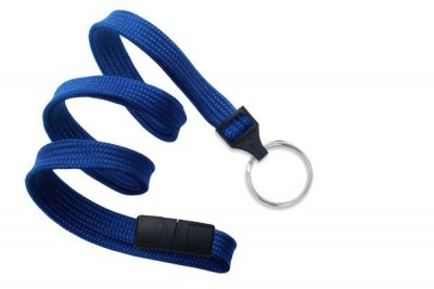 "Royal Blue 3/8"" (10 mm) Breakaway Lanyard w/ Nickel-Plated Steel Split Ring (100/Pkg)"