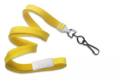 "Yellow 3/8"" (10 mm) Breakaway Lanyard w/ Black Oxide Swivel Hook (1000/Pkg)"
