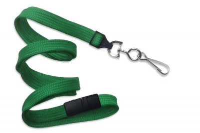 "Green 3/8"" Breakaw Lanyard w/ Nickel-Plated Steel Swivel Hook (100/Pkg)"
