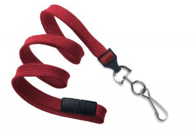 "Red Breakaway Lanyard 3/8"" (10 mm) w/ Nickel-Plated Steel Swivel Hook (100/Pkg)"