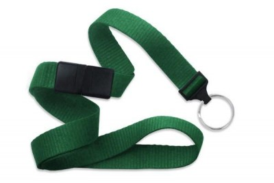 "Green 5/8"" (16 mm) Breakaway Lanyard w/ Nickel-Plated Steel Split Ring (100/Pkg)"