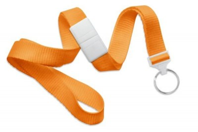 "Orange 5/8"" (16 mm) Breakaway Lanyard w/ Nickel-Plated Steel Split Ring (100/Pkg)"