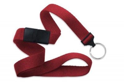 "Red 5/8"" (16 mm) Breakaway Lanyard w/ Nickel-Plated Steel Split Ring (100/Pkg)"