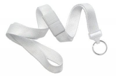 "White 5/8"" (16 mm) Breakaway Lanyard w/ Nickel-Plated Steel Split Ring (100/Pkg)"