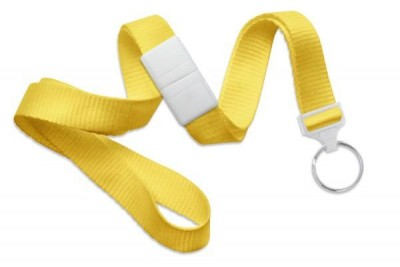 "Yellow 5/8"" (16 mm) Breakaway Lanyard w/ Nickel-Plated Steel Split Ring (100/Pkg)"