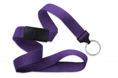 "Purple 5/8"" (16 mm) Breakaway Lanyard w/ Nickel-Plated Steel Split Ring (100/Pkg)"