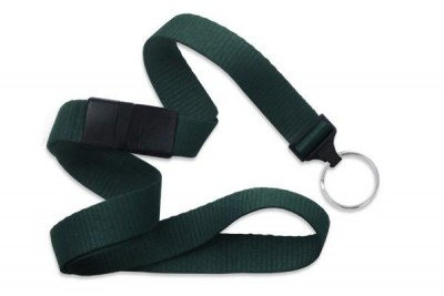 "Forest Green 5/8"" (16 mm) Breakaway Lanyard w/ Nickel-Plated Steel Split Ring (100/Pkg)"