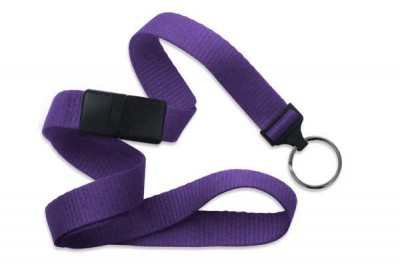 "Purple 5/8"" (16 mm) Breakaway Lanyard w/ Black-Oxide Split Ring (1000/Pkg)"