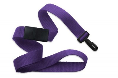 "Purple 5/8"" (16 mm) Breakaway Lanyard w/ Narrow ""No-Twist"" Plastic Hook (1000/Pkg)"