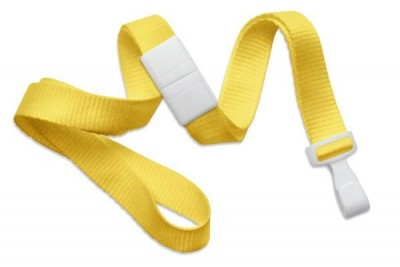 "Yellow 5/8"" (16 mm) Breakaway Lanyard w/ Wide ""No-Twist"" Plastic Hook (100/Pkg)"