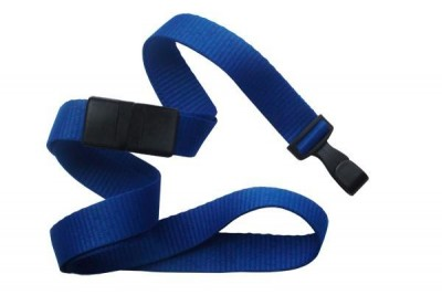 "Royal Blue 5/8"" (16 mm) Breakaway Lanyard w/ Wide ""No-Twist"" Plastic Hook (100/Pkg)"