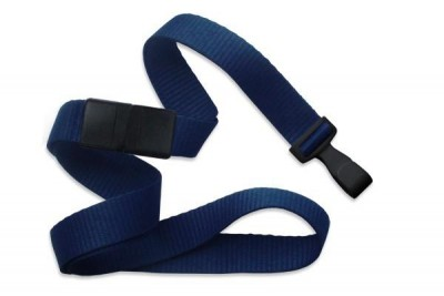 "Navy Blue 5/8"" (16 mm) Breakaway Lanyard w/ Wide ""No-Twist"" Plastic Hook (100/Pkg)"