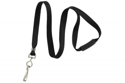 "Black 3/8"" Breakaway Lanyard w/ Swivel Hook (100/Pkg)"