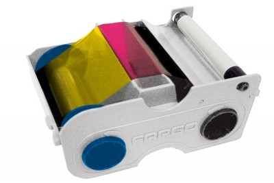 Fargo 45410 YMCKO Color Ribbon Cartridge w/ Cleaning Roller for C50