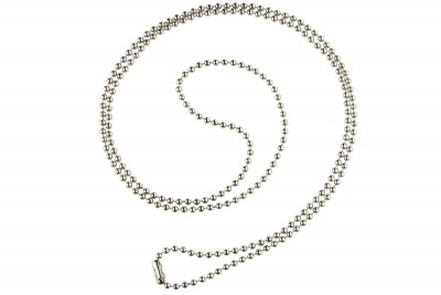 "Nickel-Plated Steel Beaded Neck Chain, Length 36"" (914mm) (100/Pkg)"