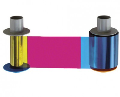 Fargo 45210 YMCKOK Full-Color Ribbon w/ Two Resin Black & Clear Overlay Panel