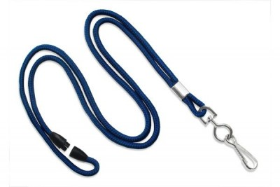 "Navy Blue Breakaway Lanyard 1/8"" (3 mm) w/ Nickel-Plated Steel Swivel-Hook (100/Pkg)"