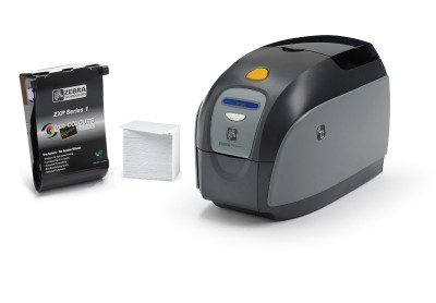 Zebra ZXP Series 1 Card Printer (Single Side, MAG Encoding, Ethernet, Color Starter Kit)