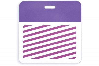 Thermal-printable TIMEbadge Clip-on BACKpart - Half Day / One-Day Pantone Purple Bar W/ Slot Hole (1000/Pkg)