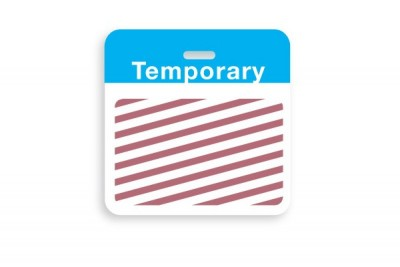 """Thermal-printable TIMEbadge Clip-on BACKpart - Half Day / One-Day Blue """"TEMPORARY"""" Bar W/ Slot Hole (1000/Pkg)"""