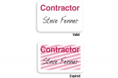 "Manual Expiring TIMEbadge Frontpart ""CONTRACTOR"" One-day Expiration (1000/Pkg)"