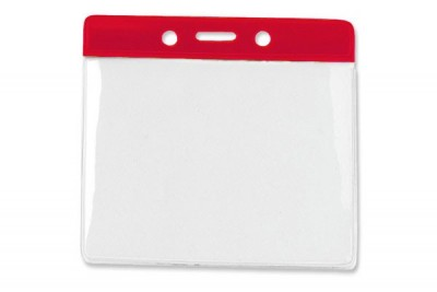 Horizontal Badge Holder w/ Red Color Bar Extra Large (100/Box)