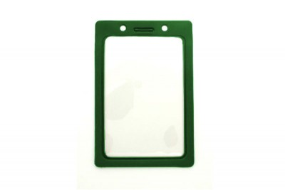 Vertical Badge Holder w/ Green Color Frame- Credit Card Size (100/Box)