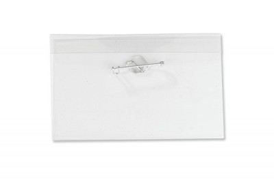 "Name Tag Holder w/ Nickel Plated Steel Pin - 2-1/2"" X 4"" (100/Box)"