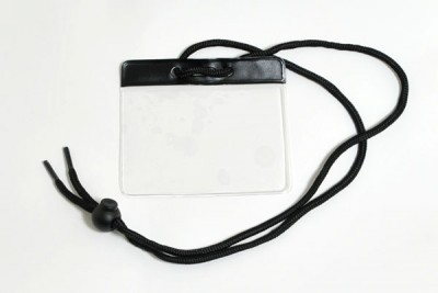 Black Badge Holder w/ Neck Cord- Government/Military Size (100/Box)