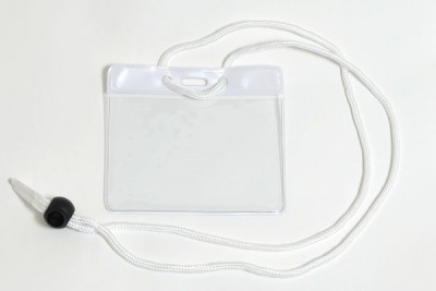 White Badge Holder w/ Neck Cord- Government/Military Size (100/Box)