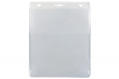 Clear Vertical Event Vinyl Credential Wallet w/ Slot & Chain Holes (100/Box)