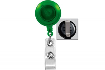Translucent Green Badge Reel w/ Vinyl Strap & Slide Type Belt Clip (25/Pkg)
