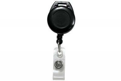 Black Lanyard Badge Reel w/ Clear Vinyl Strap (25/Pkg)