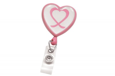 Pink Badge Reel w/ Domed Awareness Label, Clear Vinyl Strap & Swivel Spring Clip (25/Pkg)